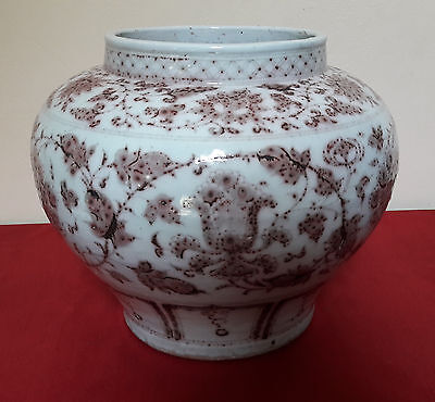 Old and Antique Chinese Yuan Copper Red Lotus and Peony Flower  Big Jar