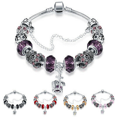 European Silver Plated Crown Charms Bracelet Rhinestone Beads Bangle Purple Gift