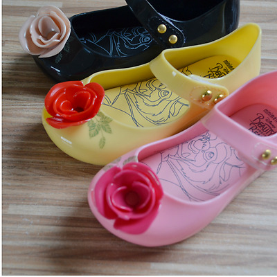 Hot Girls Jelly Shoes Beauty the Beast Rose Sandals Kid Mrs Potts Teapot Shoes