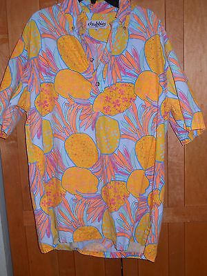 CHUBBIES   Mens  Pull  Over Colorful Hawaiian Shirt L, pineapples