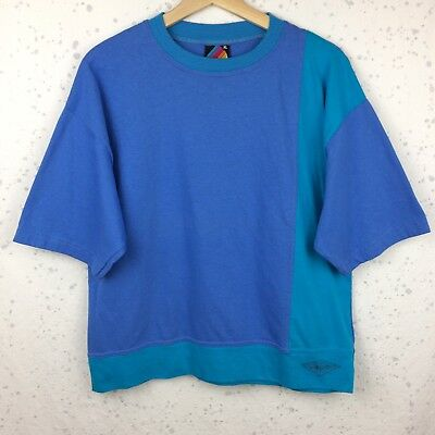 VTG 80s Hobie Surfboards Colorblock T-Shirt XL Boxy Cotton Tee Blue Turquoise US