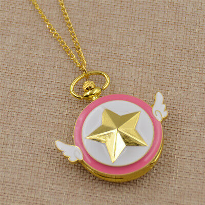 Sakura Kinomoto Star Shaped Anime Pocket Watch Necklace Cute Jewelry Acessories