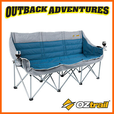 OZTRAIL GALAXY SOFA 3 SEATER with arms - BLUE COMFORT CAMP BEACH CHAIR 3 SEAT