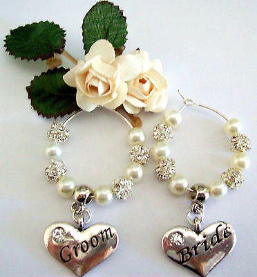 All Wedding Bridal Party Wine Glass Rings Silver Rhinestones/pearls All Colours