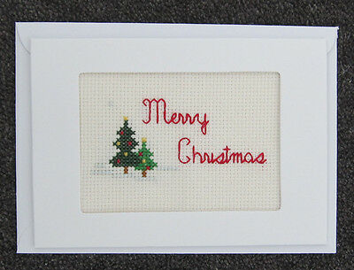 CROSS-stitch CARD red MERRY christmas TREES snow GREEN handmade CRAFT hobby ART