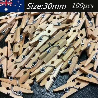 100pcs Mini Craft Wooden Pin Pegs Natural Wood Baby Shower Clothes Line Bulk DIY
