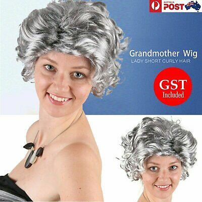 Grandmother Wig Grey Silver Curls Grandma Granny Old Lady Woman Costume Party