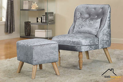 Nordic Living Room Accent Chair And Stool Silver Crushed Velvet Royal Rest Comfy