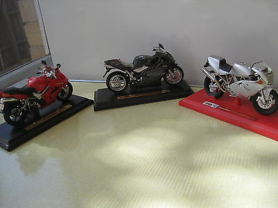 3 MAISTO TOY-SIZE MODELS OF MOTORCYCLES - Ducati, MV AGUSTA, Honda