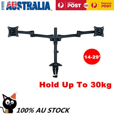 Dual HD LED Desk Mount Monitor Stand Bracket 2 Arm Holds Two LCD Screen TV