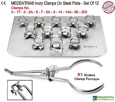 Rubber Dam Metal Ivory Clamps 12PCS Set Stokes Clamp Forceps Pliers Endodontic