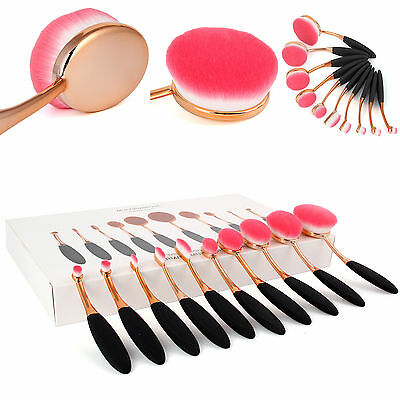 HOT 10Pcs Gold Pink Toothbrush Oval Type Beauty Makeup Brush Set Exquisite Gift