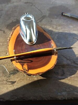 Mulga Wood and chrome ink well and pen