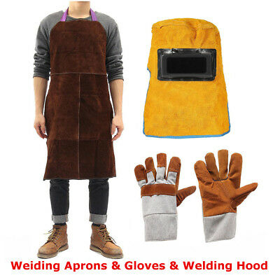 Leather Welding Helmet Mask Solar + Welder Heat Insulation Apron + Work Gloves