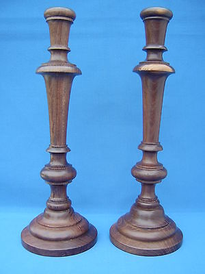 Pair of old wooden candlesticks - 31cm tall