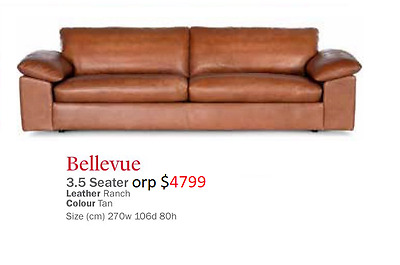 bay leather republic bellevue 3.5 seat in ranch tan orp $4799