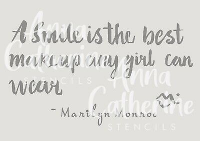 Marilyn Monroe smile quote french shabby chic stencil 190 micron mylar, A3 A4 A5