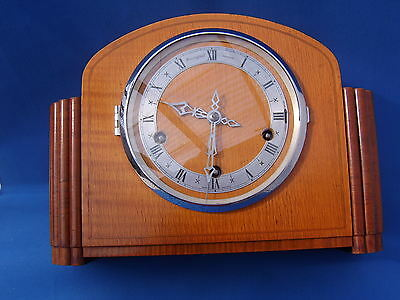 Bravingtons Renown Art Deco 3 Train Mantle Clock Westminster Chimes