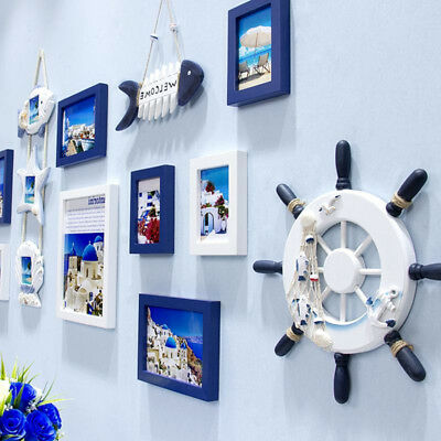 1PC Wall Decor Nautical Ship Steering Wheel Decorative Wooden Ship Rudder