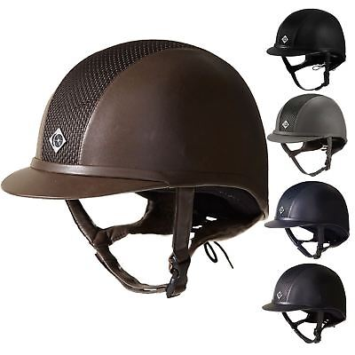 Charles Owen AYR8 Leather Look Helmet Horse Riding Show Jumping Competition NEW