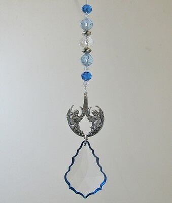 Pewter Twin Angel Suncatcher - Made With Swarovski Crystal Starflake - Blue Edge