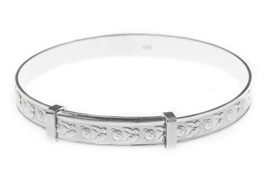 925 Silver Baby Bangle Boxed Christening Birthday Present Expanding Bracelet 6gr