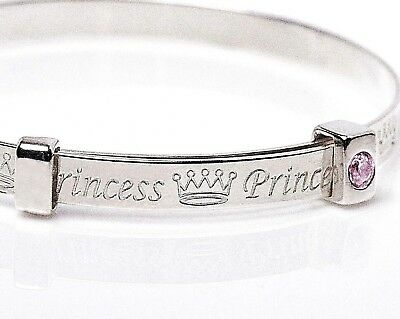 925 Sterling Silver Pink Cubic Zirconia Princess Expanding Baby Bangle Jewellery