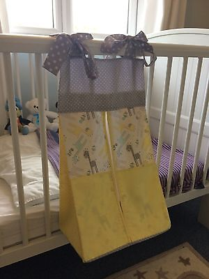 Yelllow & grey Nappy Stacker/Holder for a boy or girl. Ideal baby shower gift.
