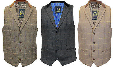 Mens Marc Darcy Formal Prom Wedding Checked Collar Waistcoat - DX7