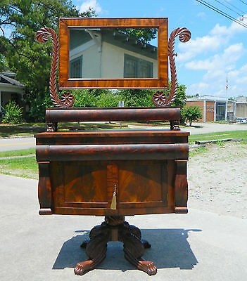Gorgeous American Empire Mahogany Washstand Dressing Table with Key circa 1840