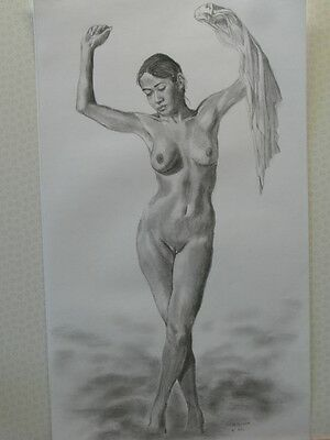Cloud Dancer,female Nude Figure Study.original,unique One-Off Only.