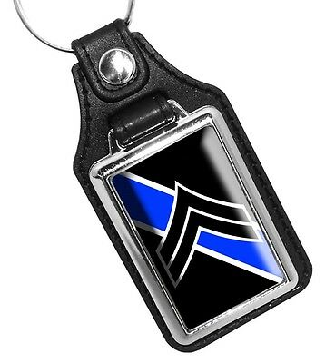 Corporal Two Stripes Rank Insignia Thin Blue Line Faux Leather Key Ring