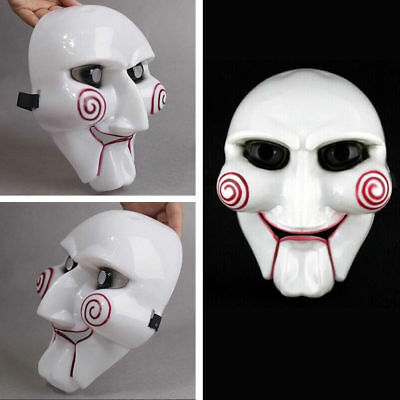 Saw Movie Jigsaw Puppet Halloween Mask Head Creepy Scary Costumes Mask Cosplay
