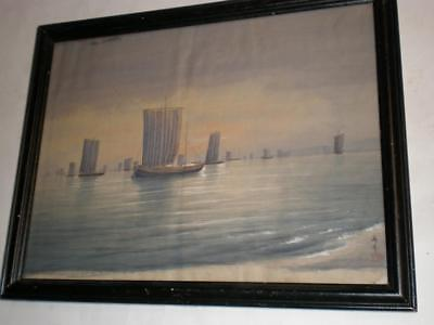 Old Japanese Painting on Silk SIGNED - Square Sailed Ships in Harbor - Warships?
