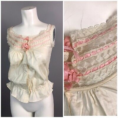 Vintage 1920s Ivory with Pink Silk Ribbon Sleeveless Camisole Cami Blouse Top XS