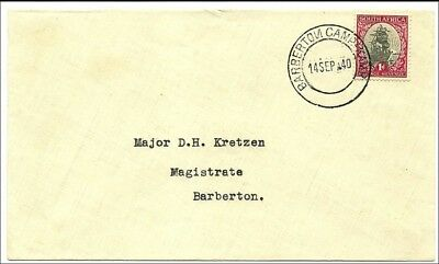 South Africa 1940, cover with postmark of the Army Camp Barberton