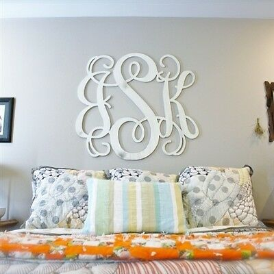 3 Letter Vine Monogram 18'' Tall x 3/8'' wood, Choose your initials.