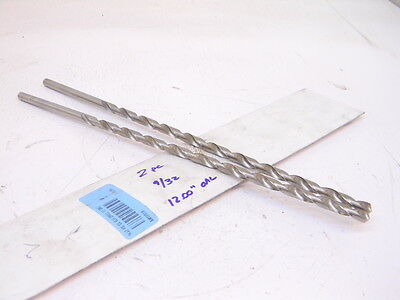 "New Surplus 2Pcs.  Straight Shank Hss Extra Length Twist Drill 9/32"" (.2810)"