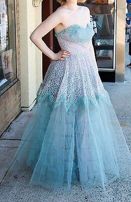 Vintage 1950's Tulle Prom Wedding Ballgown Burlesque Rockabilly Blue Dress S