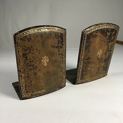 Antique 1800S Leather Folding Bookends Leather And Brass Ottino Firenze Italian