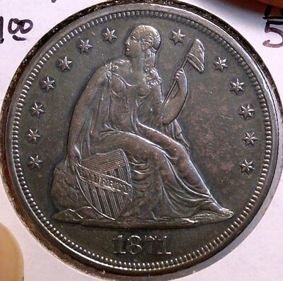 1871 Seated Liberty Dollar, Sharp Almost Uncirculated+ Classic Type  1214-19