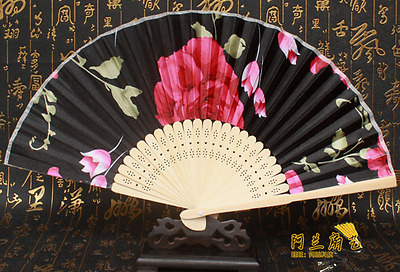 Bamboo Folding Hand Held Flower Fan Chinese Dance Party Pocket Gifts New