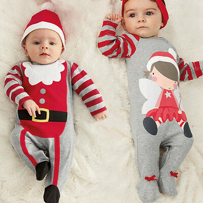 Christmas Kids Boys Girl Baby Romper Bodysuit Clothes Hat Baby Santa Outfit Xmas