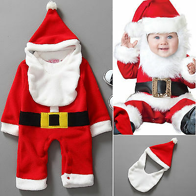 3PCS Christmas Infant Santa Baby Cute Clothes Romper Hat Bib Clothes Xmas Outfit