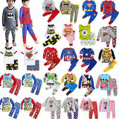 2pcs Child Cartoon Sleepsuit Outfits Set Boy Girls Soft Nightwear Pj's Pyjamas