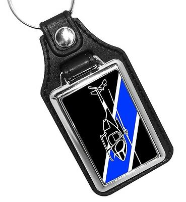 Aviation Helicopter Unit Police Sheriff Thin Blue Line Faux Leather Key Ring