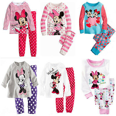 Baby Boy Girls Minnie Mickey Outfits Set Sleepsuit Nightwear Pyjamas Sleepwear