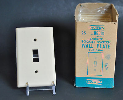 Lot of 10 Vintage BAKELITE Light Switch Cover Plate IVORY 1-gang by Leviton NOS