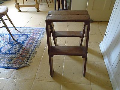 Antique / Vintage Wooden  Library / Industrial Folding Steps - Double