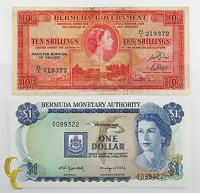 1957-1982 Bermuda $1 & 10 Shilling Notes (F-UNC) Fine to Uncirculated